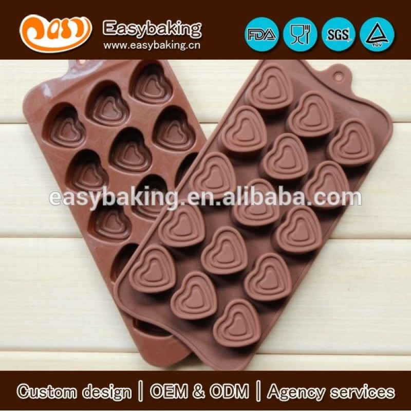 15 Cavity Ice Cube Jelly Sugar Heart Shaped Silicone Chocolate Mould