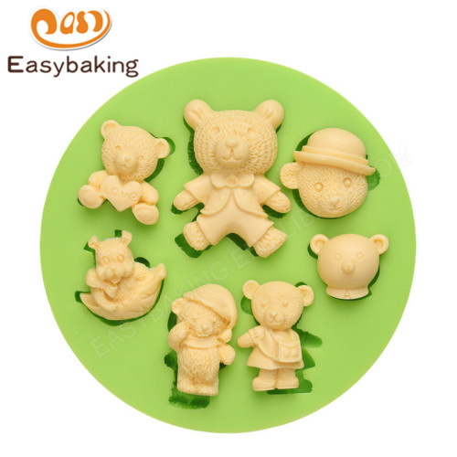 Silicone Molds Assorted Teddy Bears shape for Cupcake Decorating