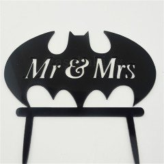 Black Batman Silhouette Mr.&Mrs Wedding Cake Decor Acrylic Cake Topper