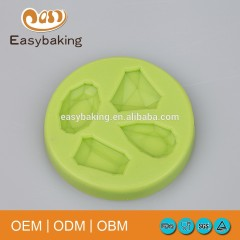 Best Selling 4 Cavities Drop Diamond Gemstone Cake Decoration Silicone Ice Cube Mould