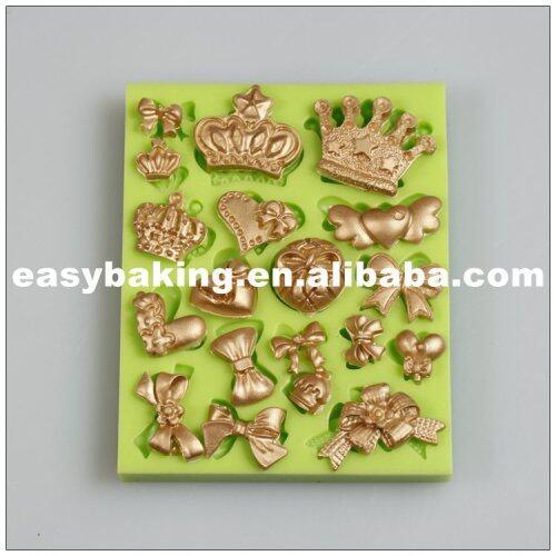 Fondant Cake Decoration Mini Ice Silicone Crown Heart Bows Mold