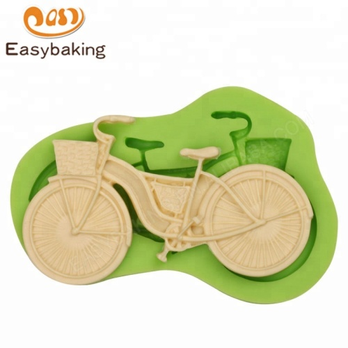 BICYCLE BIKE WITH BASKET SILICONE CANDY CHOCOLATE FONDANT CAKE MOLD