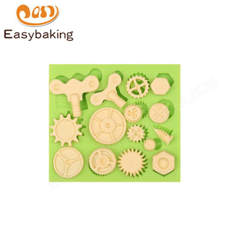 Silicone 3D gear Cake fondant Decoration Mould