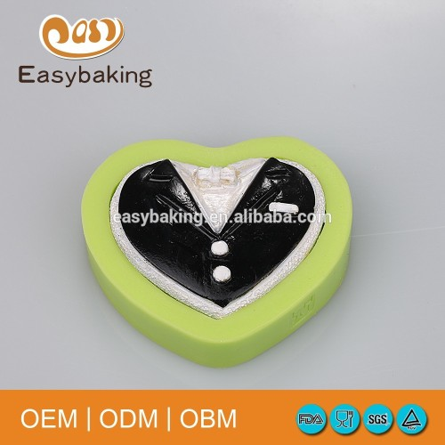 Heart Shaped Gentleman Collar Bakeware Wedding Cake Decorate Fondant Silicone Molds