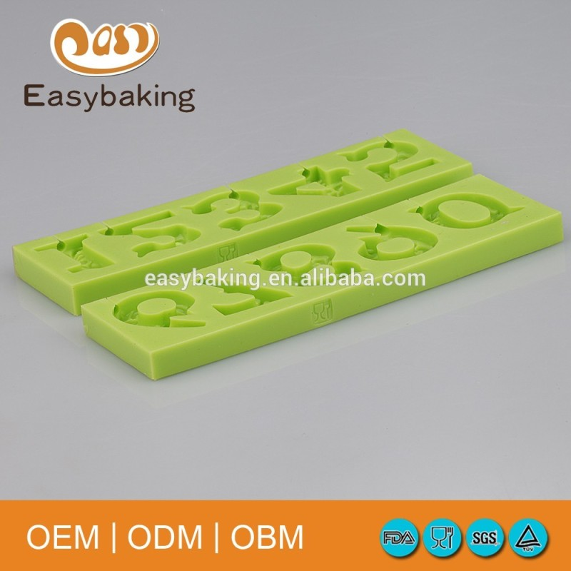 Hot Sell Birthday Arabic alphabet Numbers shape Silicone Mold For Cake Decoration