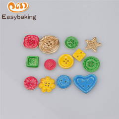 Chic multi-shape buttons silicone fondant cake decoration mold