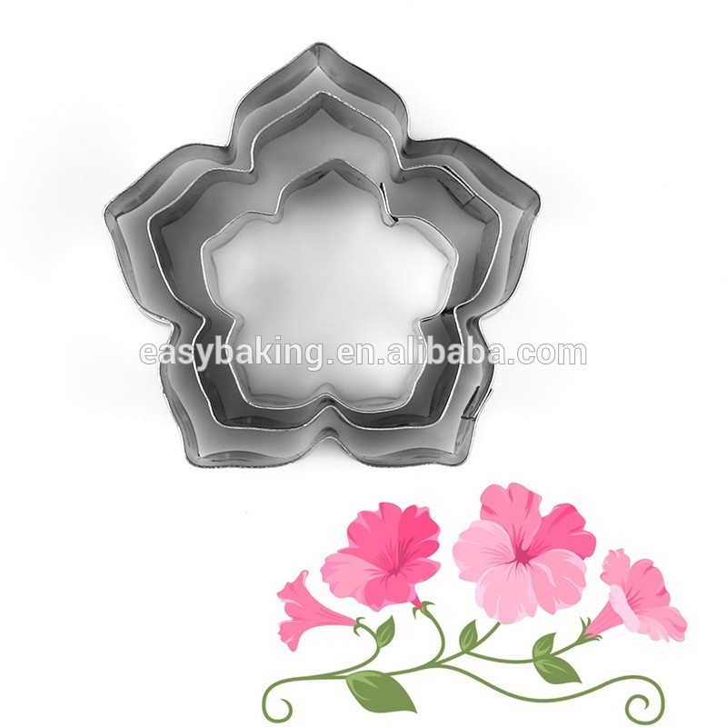 3 pcs/lot Poinsettia Flower Cookie Mold Stainless Steel Fondant Sugarcraft Biscuit Cutter