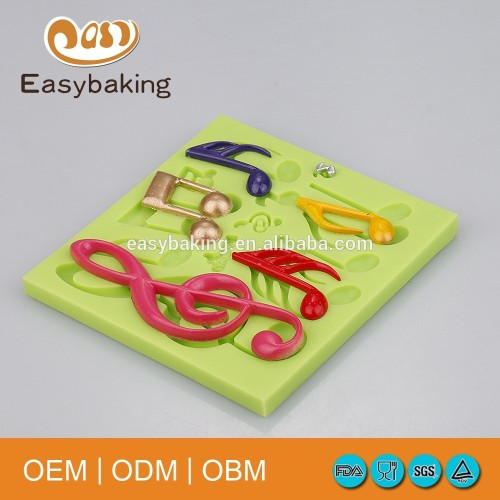 Musical note shape 3D fondant mold silicone molds for cake decorating