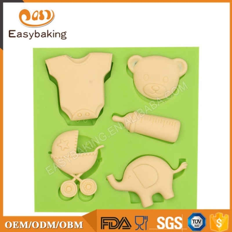 Baby Carriage Milk Bottle Bear Head Elephant Cloth Silicone Mould