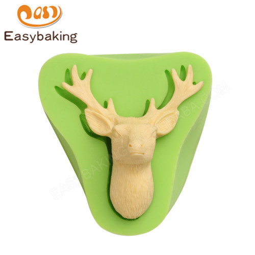 Reindeer Head Silicone Molds Fondant Mould for cake decorating