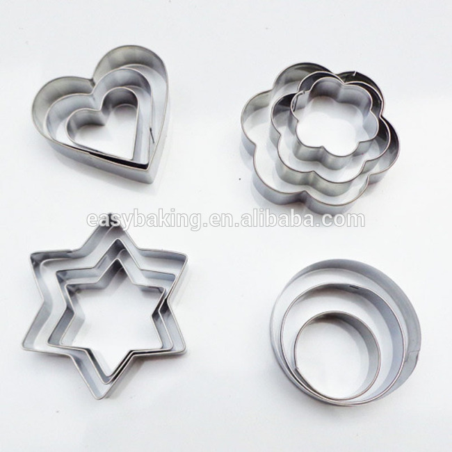 New 12 Pcs/Set Fashion DIY Star Heart Flower Round Stainless Steel Pastry Baking Mould Cookie Cutter
