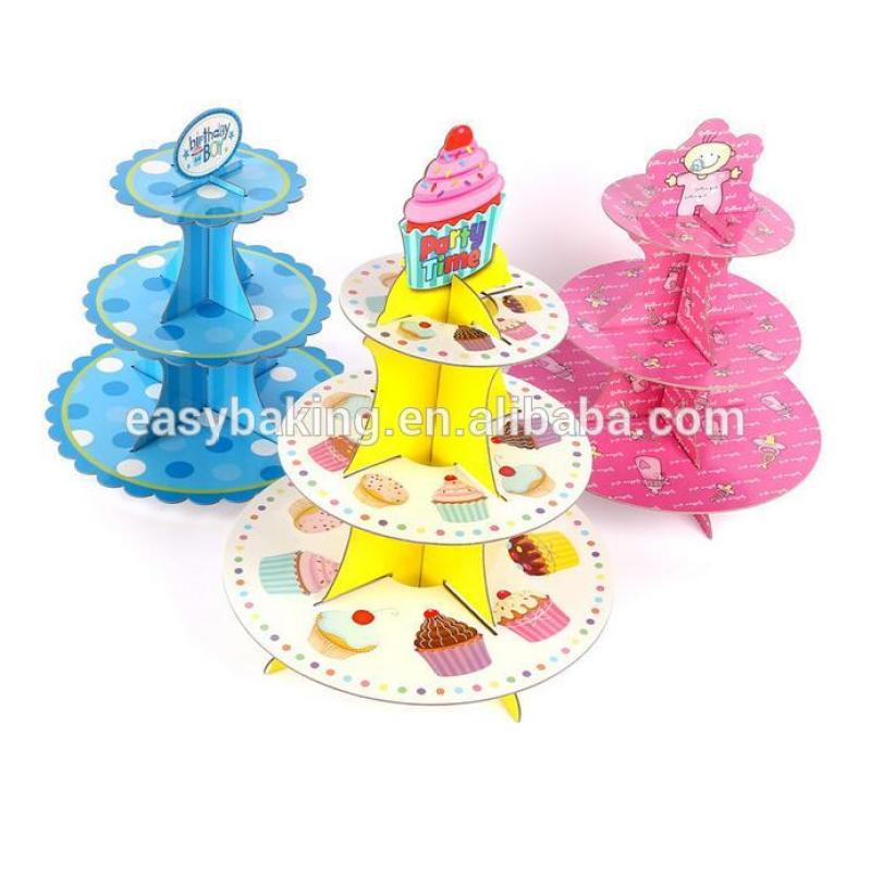 Colorful 3 tier birthday cupcake stand cardboard party cupcake stand