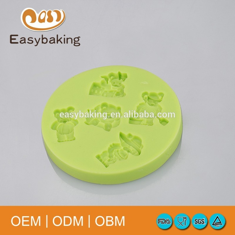 Hot selling 3D bear shape silicone cake/ice cream molds for kids and girls