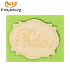 Factory Sales Believe Mini Plaque Silicone Mold for Cupcake Decoration