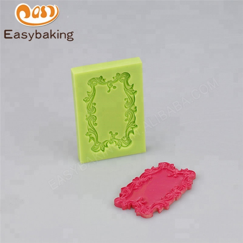 3D Mirror Fondant Cake Decorating Tools Frame Silicone Mold