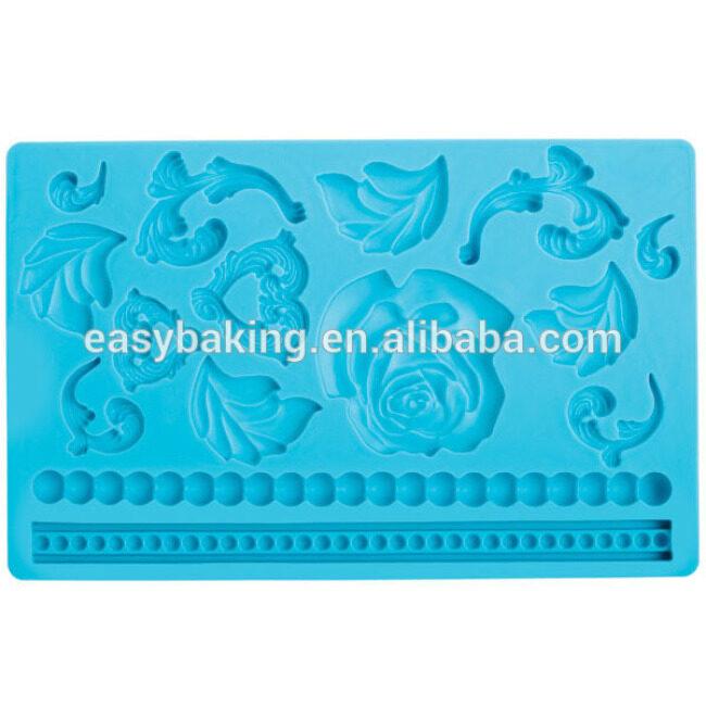 Eco-friendly 3D flower shape lace fondant silicone cake decorating mold