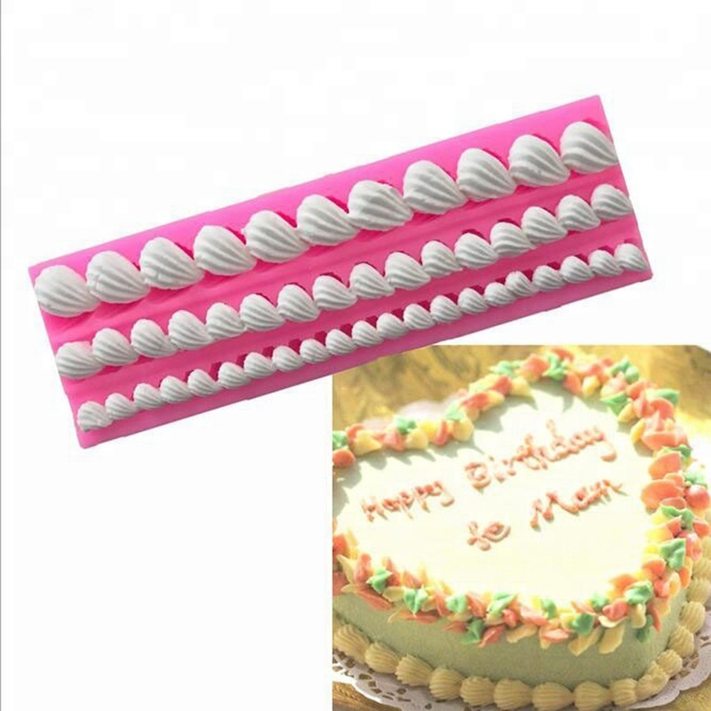 Cake Border Decoration Silicone Mold Shell Relief Fondant Cake Decorating Tools