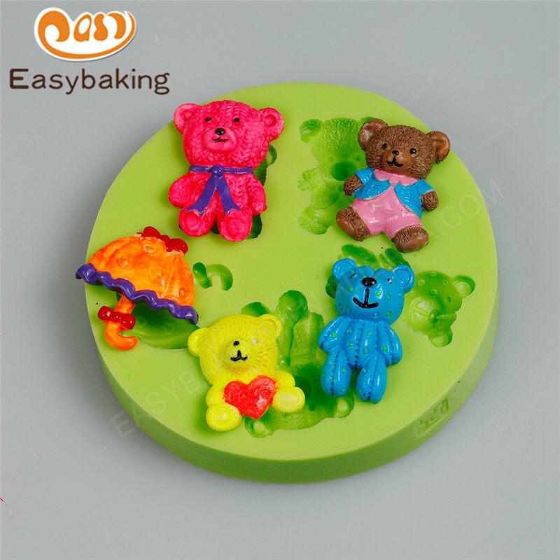 3D lovely little bear shape silicone fondant cake decoration mold