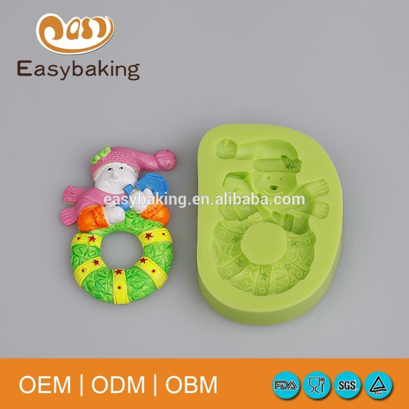 Christmas Themed Snowman With Life Buoy Candy Silicone Fondant Mould