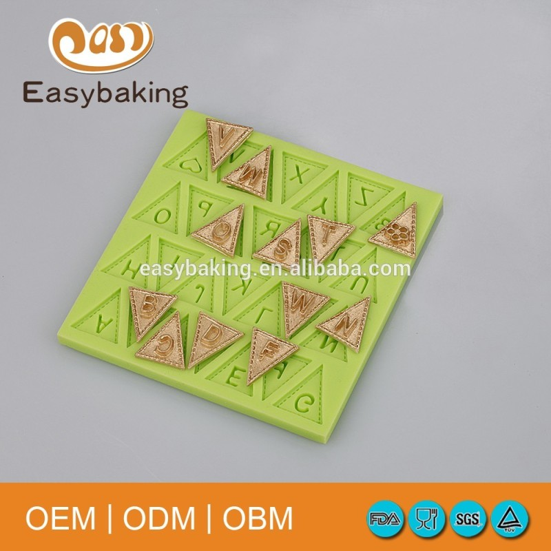 Triangle letter flags silicone molds for cake decoration