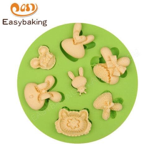 7 Holes Cartoon Rabbit Heads Silicone Fondant Cake Moulds