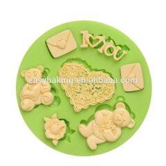 Wedding series teddy bear silicone mold for wedding cake decoration