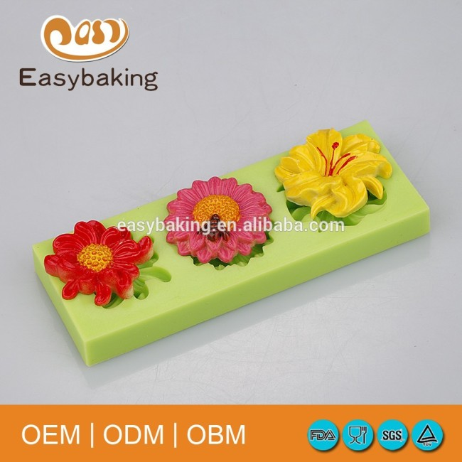 2016 Arrival Pastry 3 Flowers Silicone Mold For Cake Decorating Tools