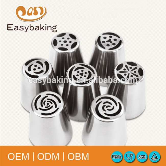 Stainless Steel Tulip Petal Nozzles Pastry Icing Cake Decorating Russian Piping Tips Set