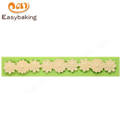 Multiduty flower shape fondant cake border silicone mold for wedding cake decorating