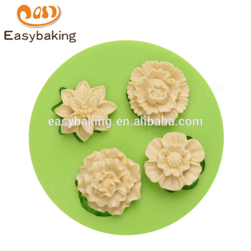 Chinese factory food grade 76*12mm cake fondant flower shape silicone molds