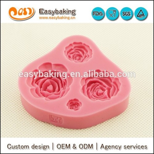 Crafts roses silicone flower fondant mold for cake decorating