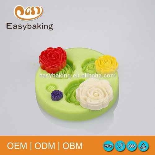 Classic 3 in 1 daisy rose flower fondant mold cup cake decorating 3D silicone molds