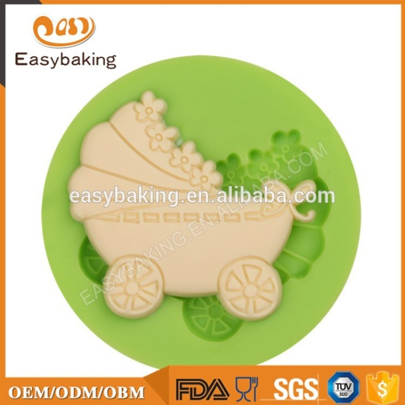 Baby Carriage Shape Silicone Fondant Mold for Cake Decorating