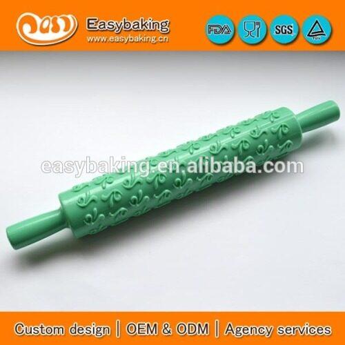 Non stick Food grade plastic embossing fondant rolling pin ,custom cake fondant plastic rolling pin