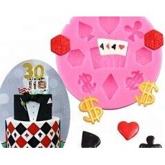 3D Poker Dice Fondant Decorating Tools DIY Birthday Cake Silicone Molds