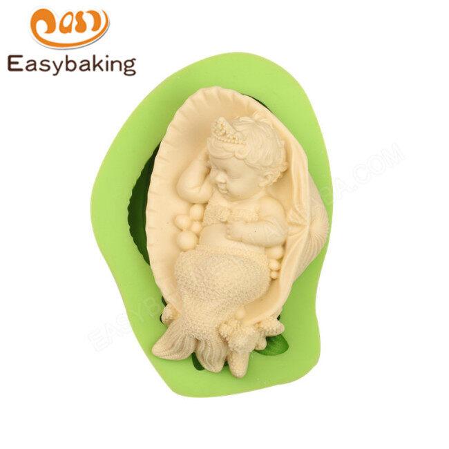 3D Sleeping Baby Infant Mermaid Silicone Fondant Cake Decor Mold