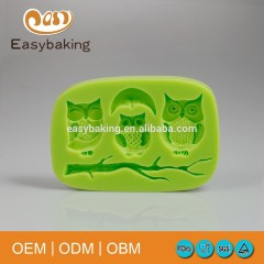 3 Owl Standing On The Branch Moon Decorate Silicone Molds
