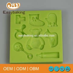 Baby Shower Fondant Cake Decorating Mould Silicone Mold for Gypsum