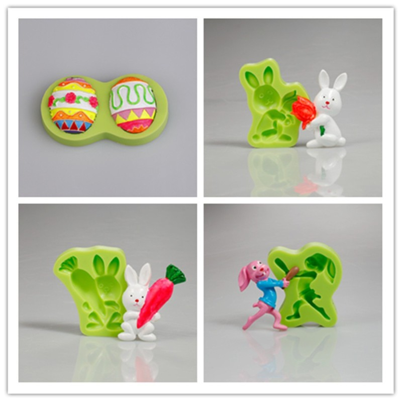 Cake Decorating Silicone Cookie Mould Cute Easter Rabbit With Radish