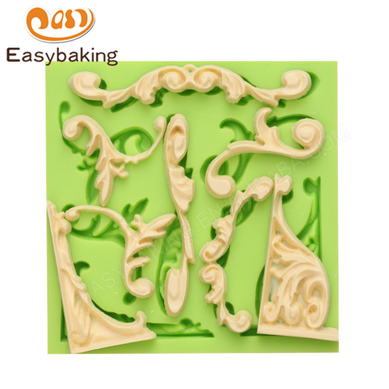Promotional classical baroque silicone fondant cake mold for cake decoration