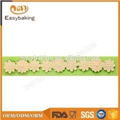 Beautiful flower shape silicone cake border mold for wedding cake decorating
