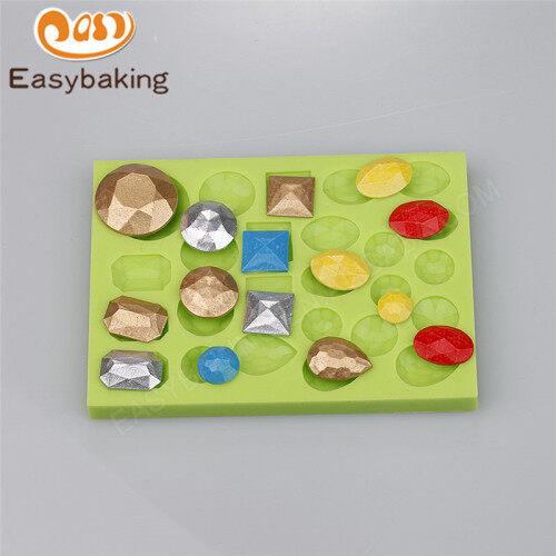 Multi shape gem shape silicone cake mold for fondant cake decoration