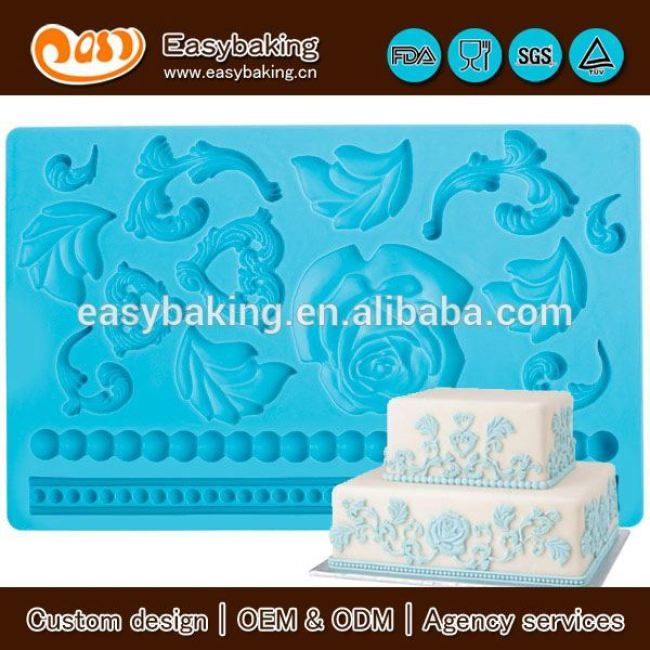 2017 Hot Sell In India Flower Shaped Fondant Silicone Molds