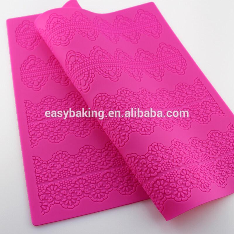 Large Multi Layer Wedding Cake Decoration Fondant Scroll Border Silicone Flower Lace Mat