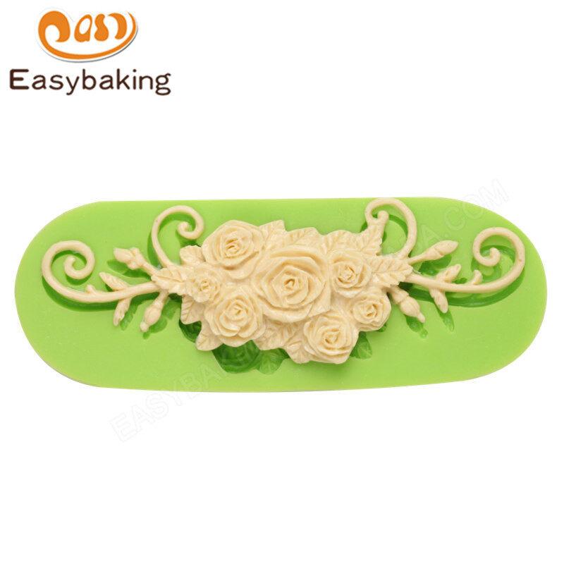 Alibaba hot sale fascinating silicone rose cake mold fondant tool for wedding cake