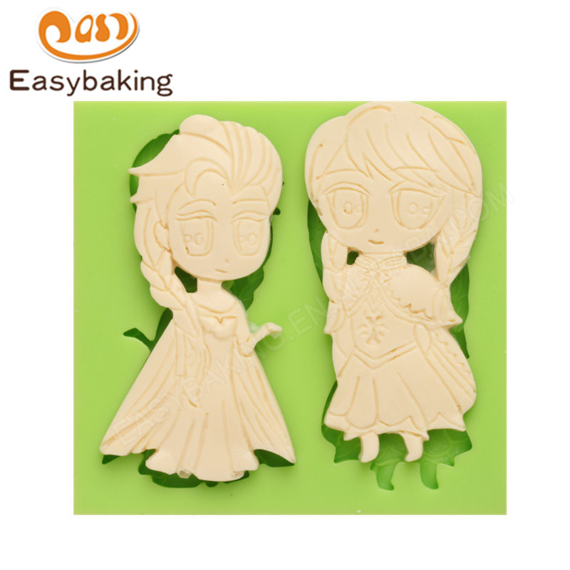 Frozen Anna and Elsa Shape Fondant Silicone Molds for cake decorating