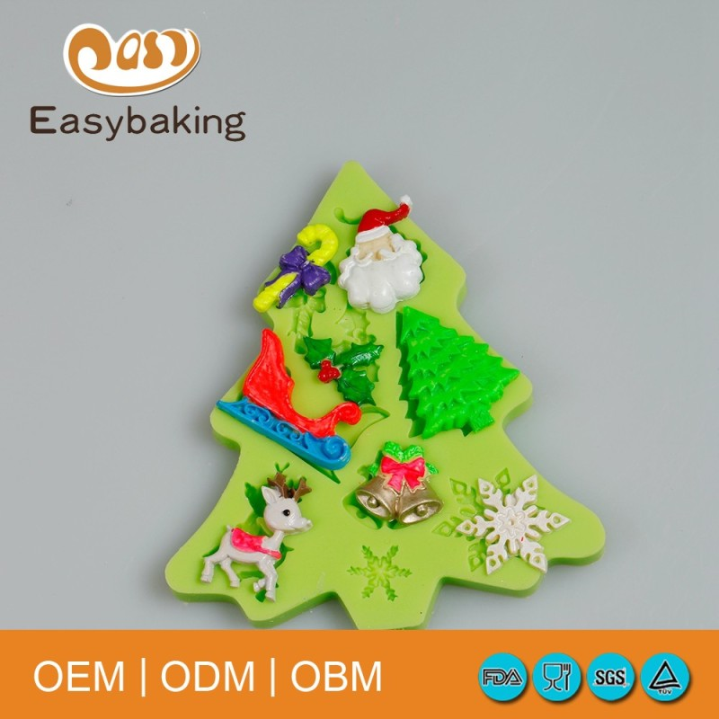 Low Price Bakery Supplies Silicone Mold Christmas Tree Cake Mold