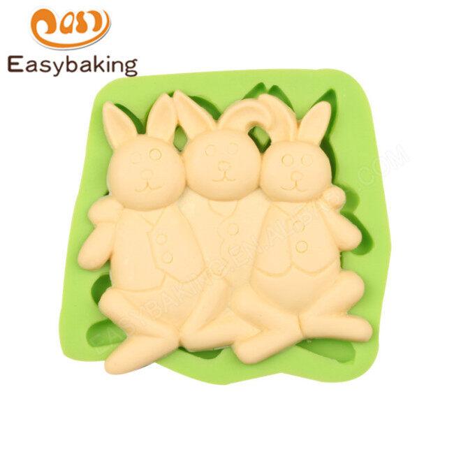 Three Standing Rabbits Gum Paste Silicone Mold