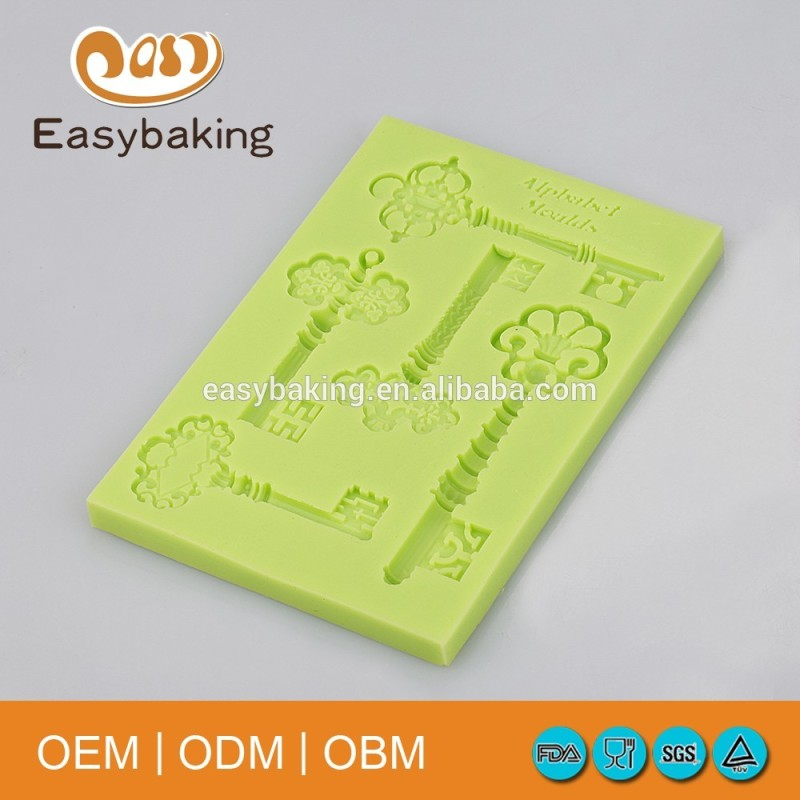 Five Holes Old Vintage Keys Shape Clay Cake Decorations Silicone Molds