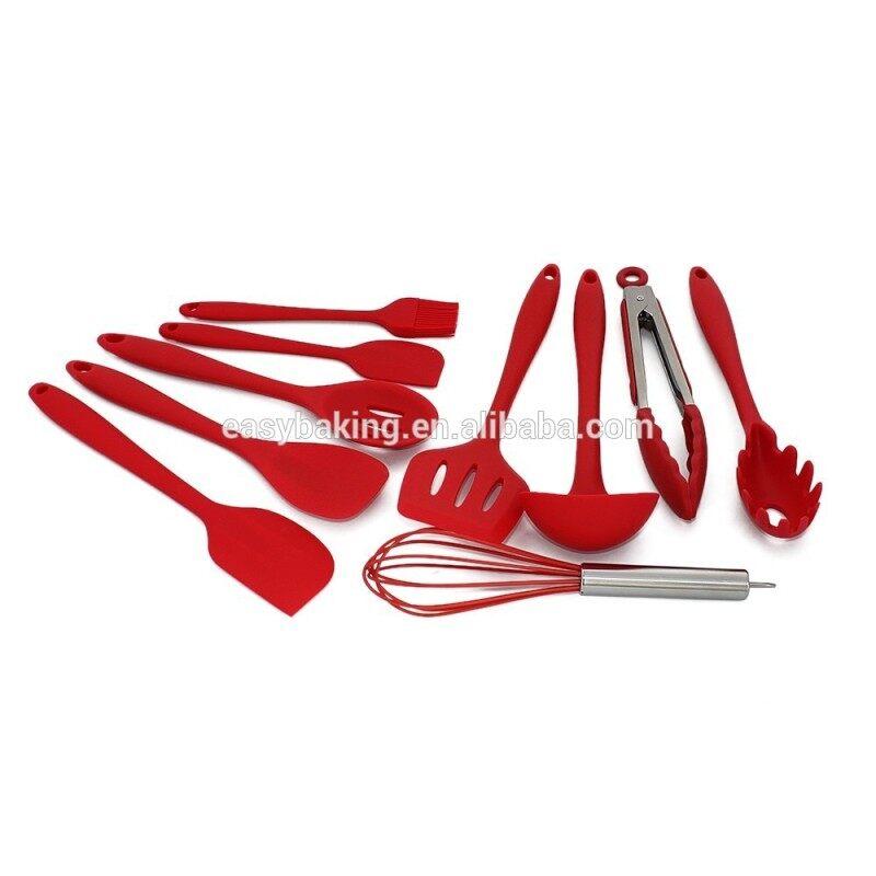 Silicone Kitchen Utensils, Spatula, Ladle, Spaghetti Server 10 Piece Cooking Tools Set